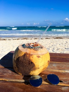 A fresh coconut at Ahau Tulum