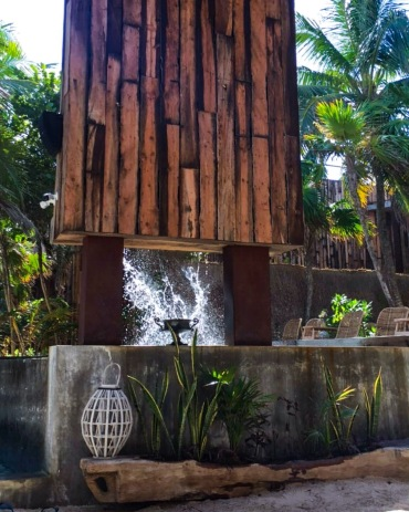The fountain over the pool at Be Tulum